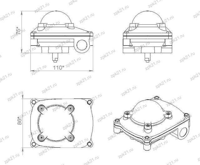 Блок концевых выключателей (БКВ), габаритные размеры, общий вид