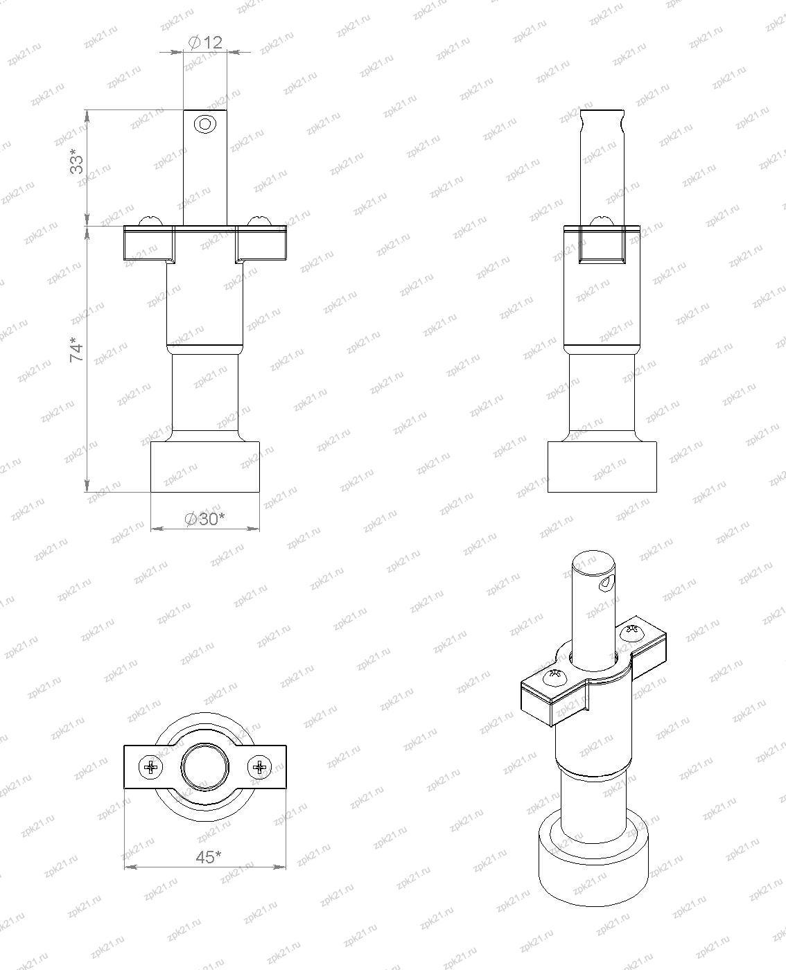 ключ магнитный КМ-1УХЛ2, общий вид, габаритные размеры