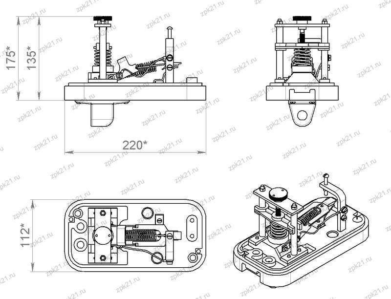 Регулятор давления АК-11Б, общий вид, габаритные размеры (без крышки)